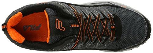 Fila Men's AT Peake Trail Running Shoe, Castlerock/Black/Vibrant Orange, 13 M US