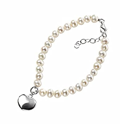 Elements Sterling Silver B3162W Ladies' Pearl Bracelet with Puff Heart 18cm + 2.5cm EXTENDER