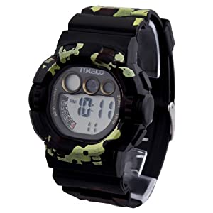 TIME100 Cool Armed Forces Style Multifunction Black Outdoor Sport Electronic Watch #W40019M.03A