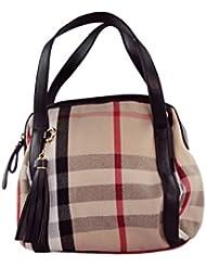 KARP Women's Vintage Casual Stylish Cream Striped With Black Belt Multi Compartment Large Capacity Shoulder Handbag...