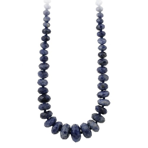 Sterling Silver Graduated Faceted Sodalite Disc Necklace, 18