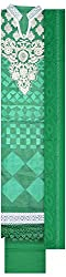 Threads Women's Cotton Dress Material (Th 7002_Green And White)