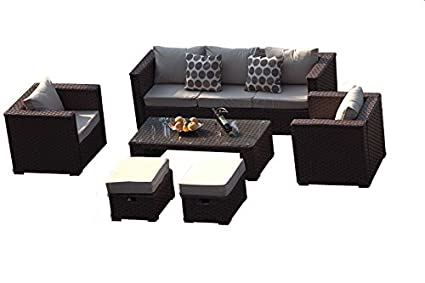 Yakoe Monaco 7 Seater Rattan Garden Furniture Patio Conservatory Sofa Set with Coffee Table Chairs and Stools - Brown