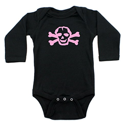 Crazy Baby Clothing Pink Scribble Skull Long Sleeve Baby Bodysuit