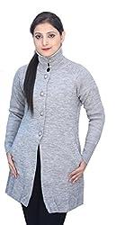 Romano Women's Classic Knit Long Wool Grey Sweater Cardigan Coat