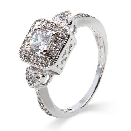 Deco Style Princess Cut CZ Promise Ring Size 5 (Sizes 5 6 7 8 9 Available)