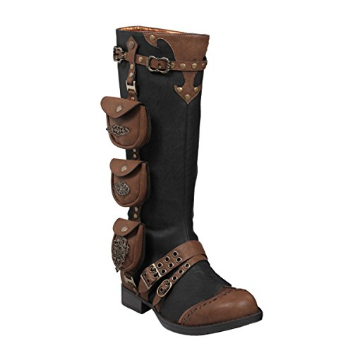 Womens-1-Inch-Heels-Black-Knee-High-Boots-Steampunk-Brown-Straps-Costume-Shoes