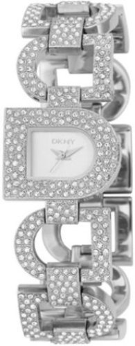 DKNY NY3915 Ladies Stainless Steel Crystal Set D-Link and Silver Dial Watch