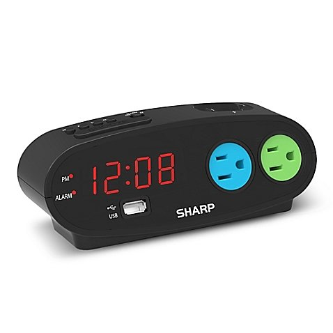 Sharp Digital Alarm Clock with 2 Outlets and 1 USB Port (Sharp Alarm Clock Outlets compare prices)