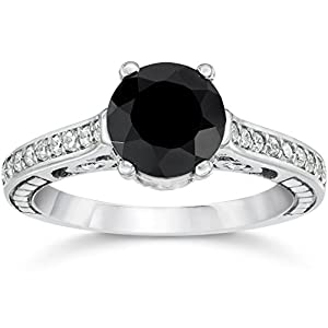 2 5/8ct Vintage Black Diamond Engagement Ring 14K White Gold