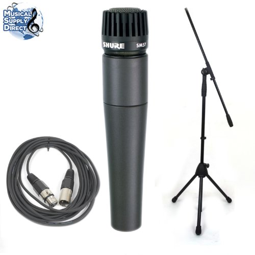 Shure Sm57 Mic Instrument Microphone Sm-57 W/Cable And Boom Stand