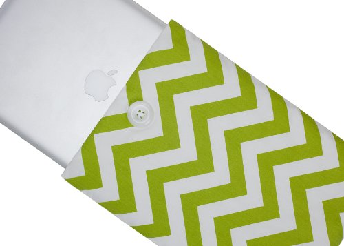 #>>  Kuzy - 15-inch GREEN Chevron Cotton Sleeve Handmade Cover for MacBook Pro 15.4