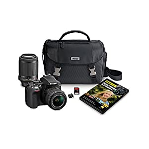 Nikon D3300 DX-format DSLR Kit w/ 18-55mm DX VR II & 55-200mm DX VR II Zoom Lenses and Case