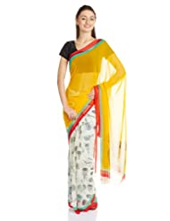 Satrang Faux Georgette Saree With Blouse Piece (10264FMST_White)