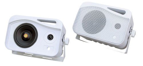 Pyle Plmr25 4-Inch 300 Watt 3-Way Weather Proof Mini Box Speaker System (White)