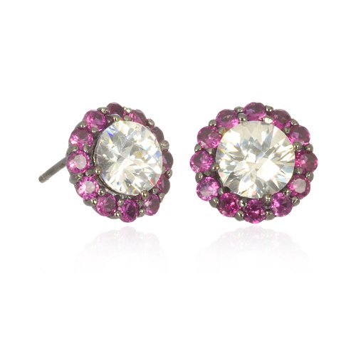 WHITE CZ STUD EARRING WITH RUBY ACCENT