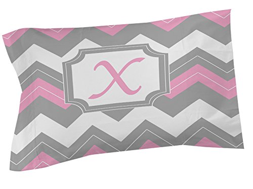 Thumbprintz Pillow Sham, King, Monogrammed Letter X, Pink Chevron front-471091