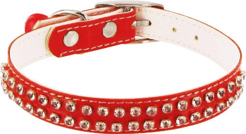 Rodeo Drive Rhinestone Dog or Cat Collar with Bell - Red, 1/2