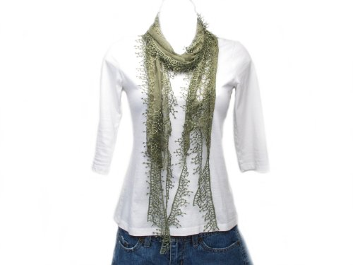 Fashion Lace Long Scarf - Leaf Green