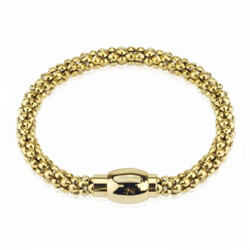 Polished Gold Plated Stainless Steel Bracelet With Magnetic Snap Closure For Men - 8.5 Length