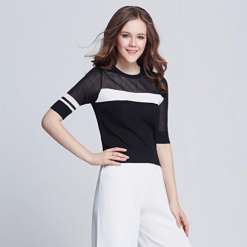 GA&GA Ladies testa sciolto maglia maglione colore/nero e bianco cappotto donna collo alto in maglia , black