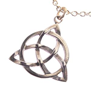 Delicate Peace Bronze Triquetra Pendant Necklace on 18