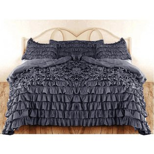 400 Tc 3 Pc Twin Size Waterfall Ruffle Duvet Set In Solid Grey By Jay'S Home Goods front-692491