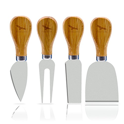 Freehawk 4 Pieces Set Cheese Knives with Wood Handle Steel Stainless Cheese Slicer Cheese Cutter