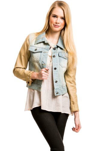 LT Denim PU Leather Jacket in LT Denim/Tan