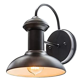 "10"" Downward Wall Mount Indoor/Outdoor Entryway Light Fixture, Oil Rubbed Bronze Finish, 1x 60W Max E26 Bulb (sold separately), Globe Electric 40190"