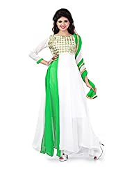 Siya Fashion women's Georgette Party Wear Unstitched Dress Material(si302_Green And White color)