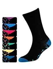 7 Pairs of Freshfeet™ Cotton Rich Pixel Print Socks with Silver Technology