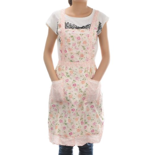Housweety New Stylish Rose Flower Pattern Women'S Chefs Cooking Cook Apron Bib With Pockets