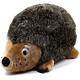 Outward Hound Kyjen  32028 Hedgehogz Dog Toys Plush Rattle Grunt and Squeak Toy, Jumbo, Brown