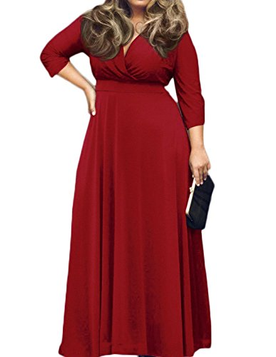 POSESHE Women's Solid V-Neck 3/4 Sleeve Plus Size Evening Party Maxi Dress Red XXL