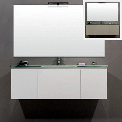 Mobile Arredo Bagno sospeso con lavabo in cristallo bianco grigio viola azzurro Mobili