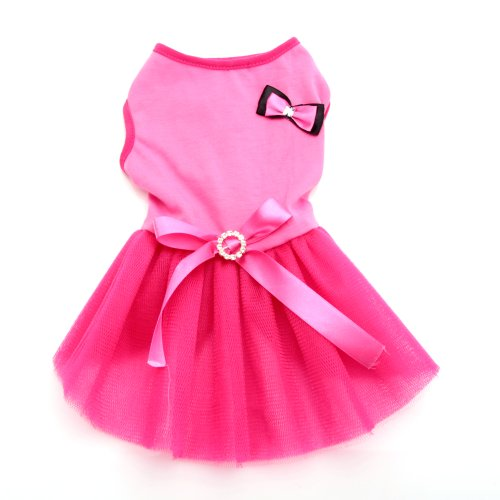 Masione Cute Dog Cat Sleeveless Lace Skirt Small Pet Puppy Wedding Clothes Dress Xs S M L (Fuchsia, [L]) front-672995