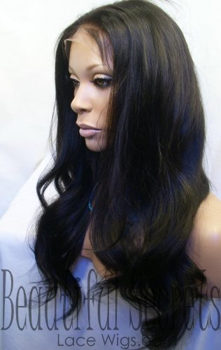 22 Inch Full Lace Wig; 1b Light Yaki Indian Remy Human Hair