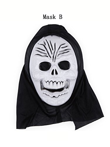 [Century Star Unisex Adult Skull Skeleton Halloween Cosplay Dress Costume Mask B One Size] (Company B Costumes Hire)