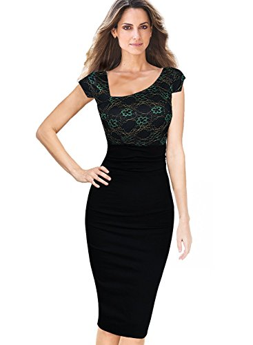 VfEmage Womens Asymmetrical Neckline High Waist Wear to Work Pencil Dress 2367 Black 12
