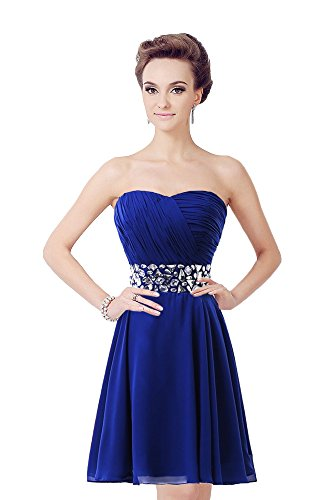 Medon'S Strapless Ruched Bodice Short Chiffon Lace-Up Bridesmaid Dress (Us8, Royal Blue)