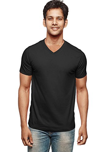 WYO Wear Your Opinion Men's T-Shirt in V-Neck Plain Black