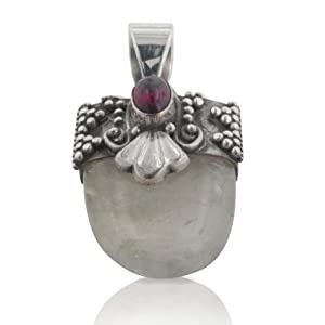Rutilated Quartz or Hair Stone with Garnet Sterling Silver Pendant