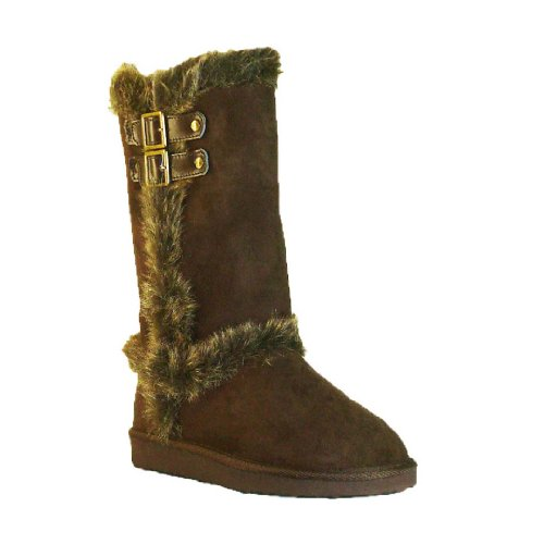 Women's Qupid Brown Classic Fur 2 Buckles Mid Calf Boots (Oakley92),