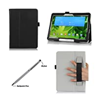 ProCase Samsung Galaxy Tab Pro 10.1 Tablet Case with bonus stylus pen - Flip Stand Leather Folio Cover for Samsung Galaxy TabPRO 10.1 inch Tablet SM-T520 / T525 (Black) by ProCase