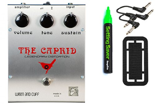 Wren And Cuff Caprid Fuzz Bundle - 4 Items: Stagetrix Setting Saver Pen, Stagetrix Pedal Fastener, 2X Hosa Patch Cables