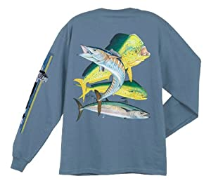 Guy Harvey Bull Dolphin, Wahoo, Kingfish Long Sleeve Shirt - Denim - Medium