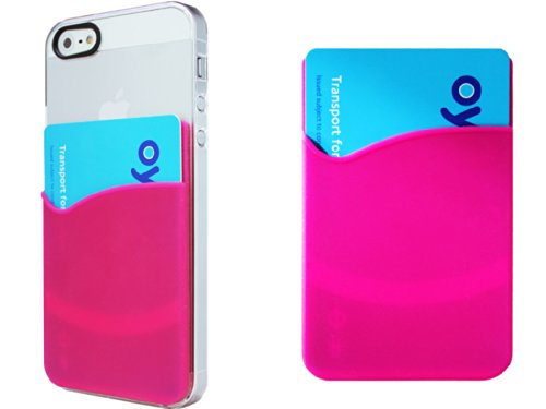 Iphone 5S/5 Novoskins Outfitter Crystal Clear Ultra Thin Hard Case Plus 3M Adhesive Smart Card Pouch Silicone Pink (Holds Up To 5 Cards) + Screen Guard