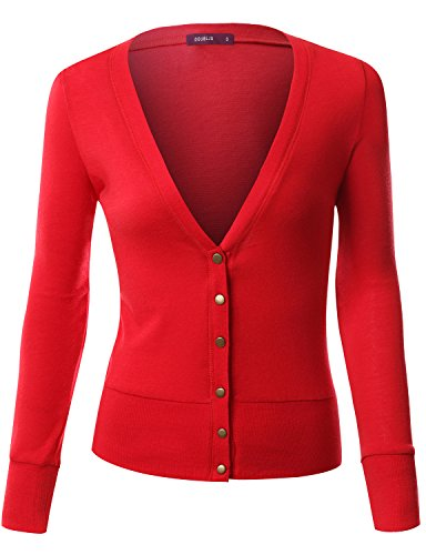 Doublju Womens Long Sleeve Clasic Button RED Solid Sweater ...