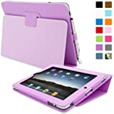 iPad 1 Case, Snugg™ - Cover with Flip Stand & Lifetime Guarantee (Purple Leather) for Apple iPad 1
